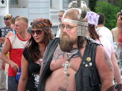 Below: Kuraev (via stanis-sadal), I think at a bikers' rally.